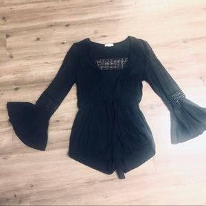 Black Long Sleeve Shorts Romper with Front Tie
